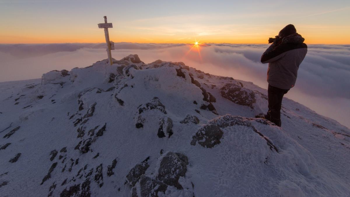 Sunrise at Krivan with photographer